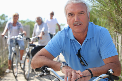 Middle-aged guys on bike ride