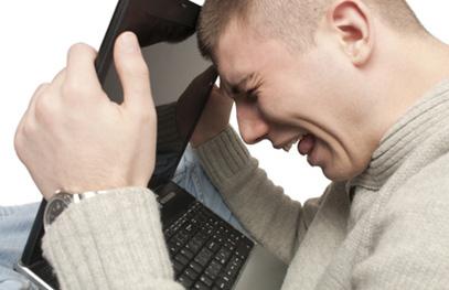Older man struggling with technology